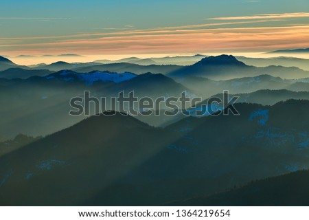 Aerial Landscape view from Ceahlău Mountains National Park at sunset in winter season,Sunset in Ceahlau Mountains #1364219654