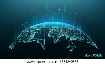 Map of the planet. World map. Global social network. Future. Vector. Blue futuristic background with planet Earth. Internet and technology. Floating blue plexus geometric background.   Royalty-Free Stock Photo #1364290838