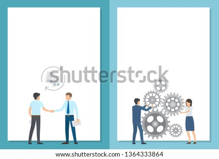 Agreement and interaction set of posters with text. raster illustration successful men shaking hand along two employees spinning gear wheels #1364333864
