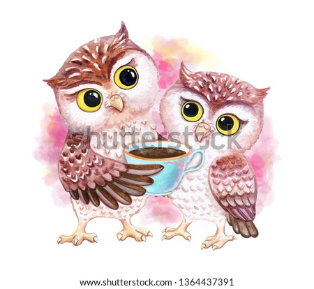 Owls with a cup of hot coffee, chocolate. Owlet are hugging. Lovely chicks isolated on white background. Funny cartoon  birds. Watercolor. Illustration. Clip art.