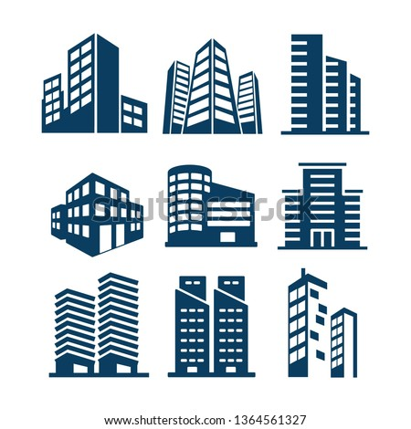 Set of Building and real estate city Royalty-Free Stock Photo #1364561327