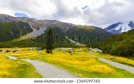Panoramic View of Aoraki or Mount Cook National Park in the Canterbury Region of South Island, New Zealand; White Horse Hill Campground #1364599760