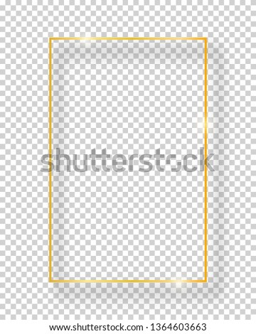 Vector golden shiny vintage square frame isolated on transparent background. Luxury glowing realistic border #1364603663