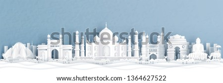 Panorama view of India with Taj Mahal and skyline with world famous landmarks in paper cut style vector illustration #1364627522