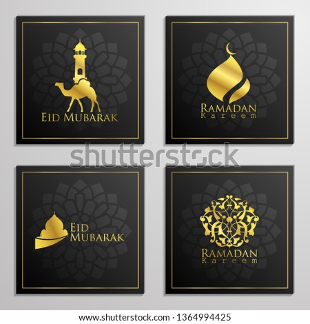 Ramadan Kareem and Eid Mubarak set of emblems arabic calligraphy, dome, mosque and arabian traveller on camels for islamic icon greeting banner design. Trnslation of text : Blessed Festival #1364994425