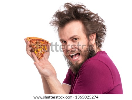 Crazy Bearded Man with funny Haircut. Happy Hungry man Eating Pizza and looking at camera, isolated on white background. #1365025274