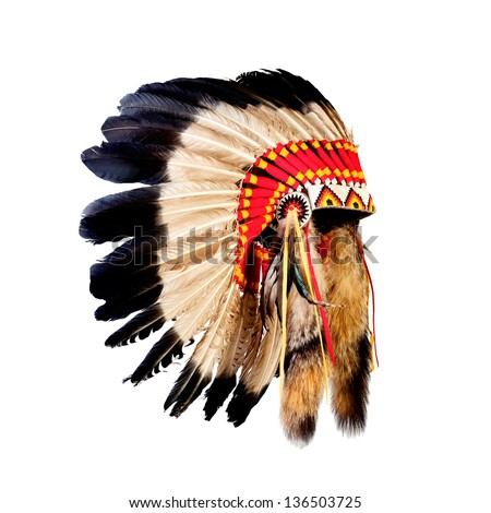 native american indian chief headdress (indian chief mascot, indian tribal headdress, indian headdress) Royalty-Free Stock Photo #136503725