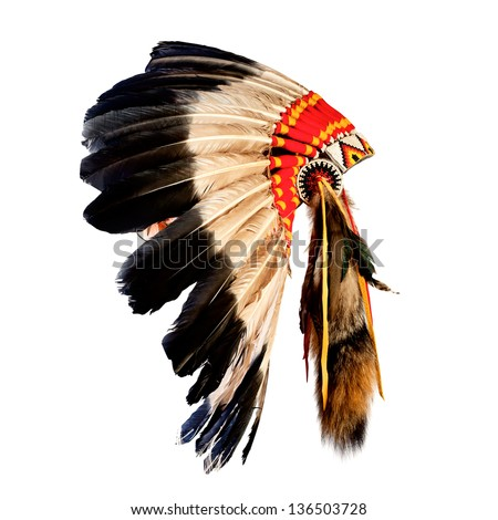 native american indian chief headdress (indian chief mascot, indian tribal headdress, indian headdress) Royalty-Free Stock Photo #136503728