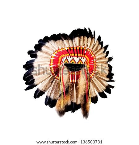 native american indian chief headdress (indian chief mascot, indian tribal headdress, indian headdress) Royalty-Free Stock Photo #136503731