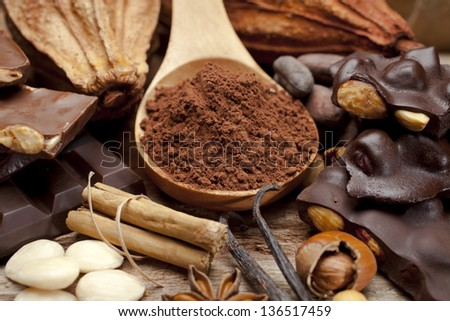 Cocoa still life, chocolate and spices #136517459