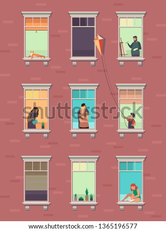 Windows with people. Opened window neighbors people communicate apartment building exterior exercising at home morning. Cartoon illustration #1365196577