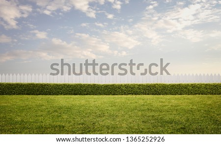 Empty front or back yard at the sunset with copy space Royalty-Free Stock Photo #1365252926