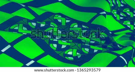 Background texture. silk bright fabric Mosaic geometric shapes Composition with colorful stained glass Grid design Illustration of green blue white olive colors #1365293579