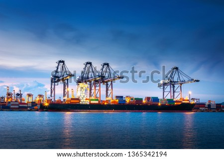 Transportation and Shipping Logistics Loading Dock Terminal., Container Import and Export of Sea Freight Transport Industrial., Landscape of Port Maritime and Harbor Cargo Shipyard With Crane Bridge. #1365342194