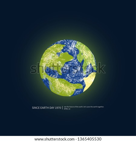 Earth ball with dark background. Earth Day Poster. Ecological concept. Vector illustration #1365405530