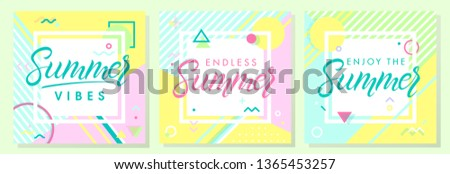 Set of artistic summer cards with bright background,pattern and geometric elements in memphis style.Abstract design templates perfect for prints,flyers,banners,invitations,covers,social media and more #1365453257