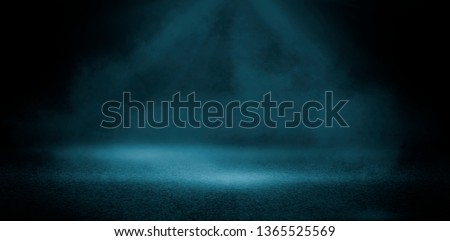 Texture dark concentrate floor with a searchlight, smoke.  #1365525569