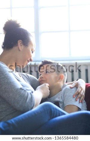 Loving mother with son at home #1365584480