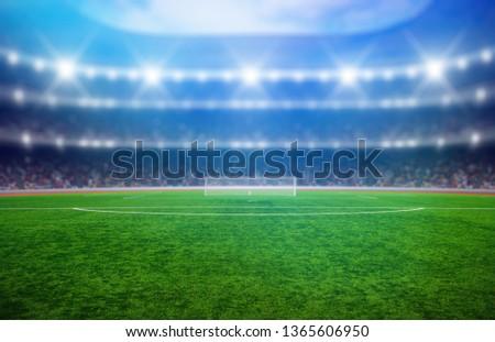 Soccer stadium with illumination, green grass and night  blurred sky #1365606950