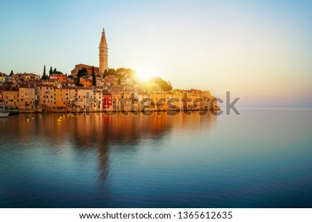 Beautiful romantic old town of Rovinj in Croatia. The coastal city of Rovinj situated in Istria Peninsula east of Croatia Europe, it is the famous travel destination of Croatia. #1365612635