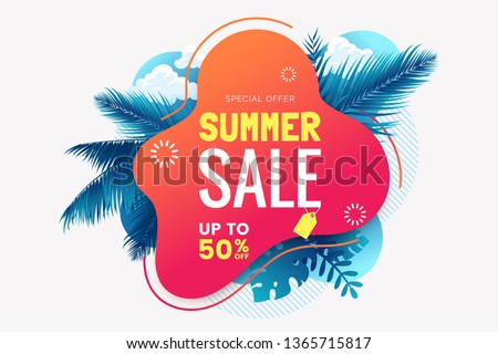 Summer sale banner template. Summer abstract geometric background with palm leaves and clouds. Tropical backdrop. Promo badge for your seasonal design. Vector illustration. #1365715817
