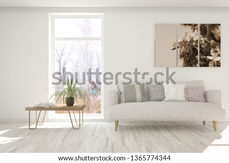 Stylish room in white color with sofa. Scandinavian interior design. 3D illustration #1365774344