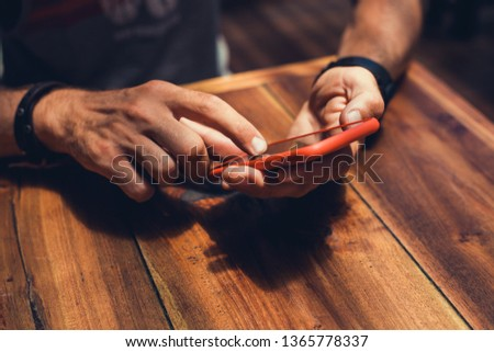 fashion beard man portrait, tattoo hand, Handsome man beard using smartphone in hand, happy face, street photo, hipster style portrait, isolated, make video, instagram. facebook,  #1365778337