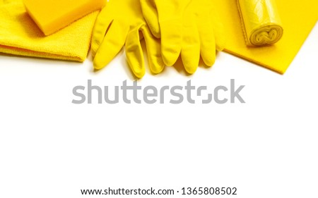 Yellow set for bright spring cleaning in the house. The concept of spring. Copy space. #1365808502