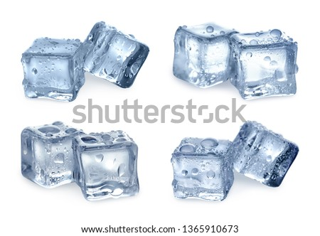 Set of crystal clear ice cubes on white background #1365910673