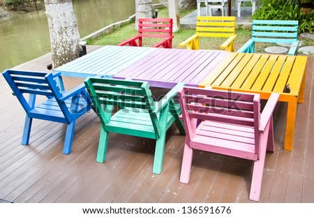 Colorful wooden armchairs #136591676