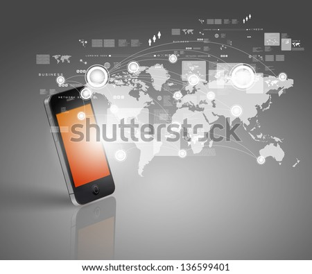 Modern communication technology illustration with mobile phone and high tech background #136599401