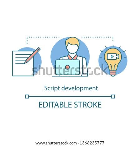 Script development concept icon. Video pre production idea thin line illustration. Film scenario writing. Scripting. Screenwriter. Film making idea. Vector isolated outline drawing. Editable stroke