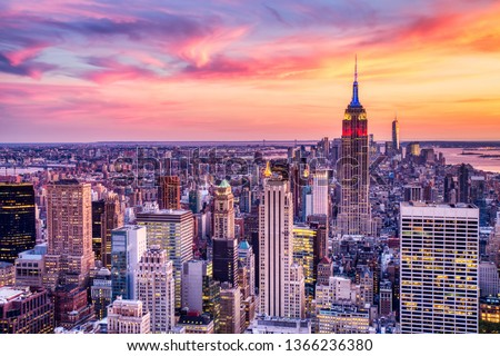New York City Midtown Aerial view from Helicopter at Amazing Sunset #1366236380