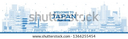 Outline Welcome to Japan Skyline with Blue Buildings. Vector Illustration. Tourism Concept with Historic Architecture. Cityscape with Landmarks. Tokyo. Osaka. Nagoya. Kyoto. Nagano. Kawasaki. #1366255454
