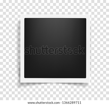 Old vintage style realistic square photo frame template with shadows isolated on transparent background. Memories concept in modern style. Vector illustration #1366289711