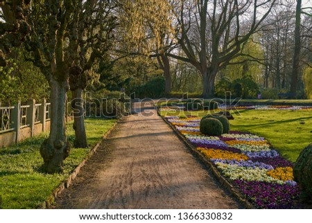 """idyllic footpath in the park called """"Graftanlagen"""" in Delmenhorst (Germany) during a beautiful spring day with late afternoon light Royalty-Free Stock Photo #1366330832"""