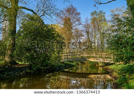 """wooden bridge across a moat in the public park called """"Graftanlagen"""" in Delmenhorst (Germany) on a sunny spring day with blue sky Royalty-Free Stock Photo #1366374413"""