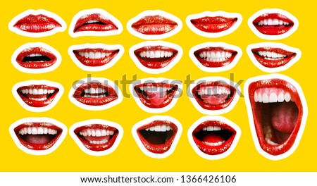 Collage in magazine style with emotional woman's lip gestures set. Girl mouth close up with lipstick makeup expressing different emotions. Black and white toned sunny summer colorful yellow background #1366426106