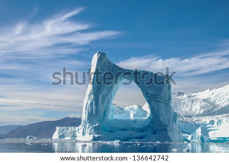 Arch iceberg in Greenland Royalty-Free Stock Photo #136642742