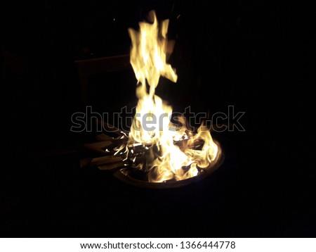 fire place  flames illumination night bonfire #1366444778