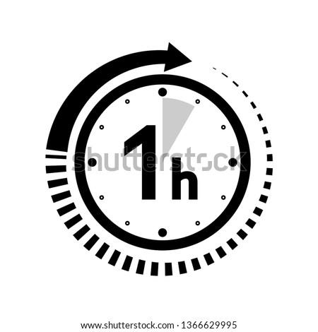 One hour arrow icon - Vector #1366629995