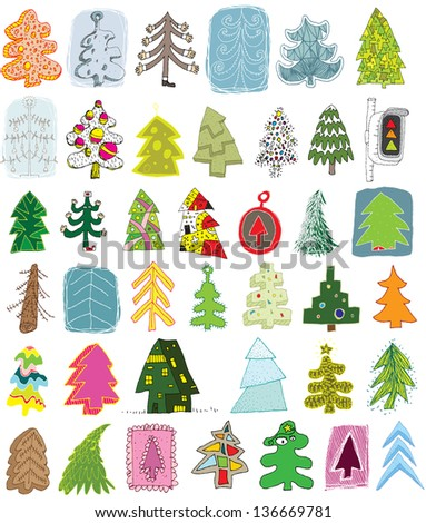 Christmas Trees Doodle Collection: set of 40 different trees in colours. (for vector see image 116692324)
