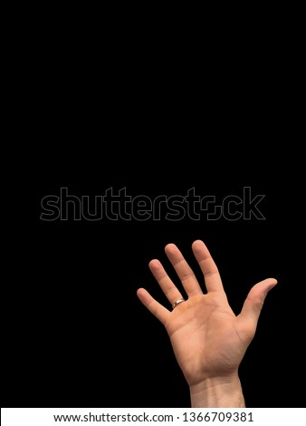 One hand of young caucasian man holding up. Strong empty arm isolated on background. Place for text #1366709381