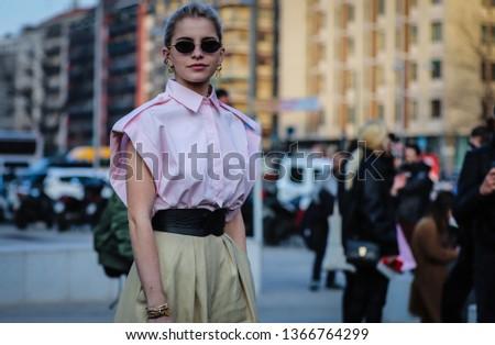 MILAN, Italy- February 20 2019: Caroline Daur on the street during the Milan Fashion Week. #1366764299