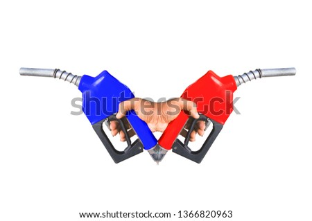 2 Fuel nozzle Hand holding red and natural sea power technology icons that are separated from the ground. #1366820963