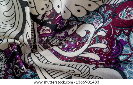 Background texture. cotton women scarf black and white pattern on one side of the scarf and color paisley pattern on the other side #1366901483