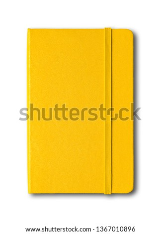 Yellow closed notebook mockup isolated on white Royalty-Free Stock Photo #1367010896