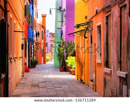 Colorful street in Burano, near Venice, Italy #136711289