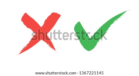 tick and Cross sign elements. vector buttons for vote, election choice, check marks, approval signs design. Red X and green OK symbol icons check boxes. Check list marks, choice options, survey signs. #1367221145