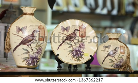 decor antique items for interior. Luxury objects and styles, decorative item. pots, decoration items, gun decor item, antique objects. Ceramic stylish items. for background, texture and designs. #1367362217